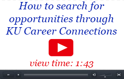 How to search for opportunities through KU Career Connections, view time 1:43